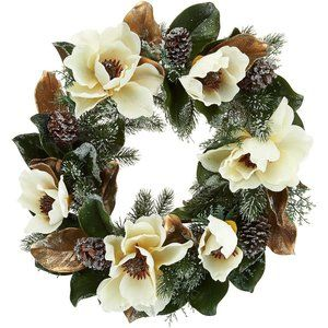 "24"" Iced Magnolia and Pinecone Wreath"